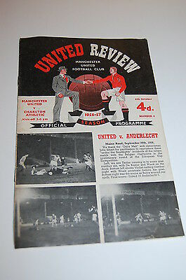 MANCHESTER UNITED v Charlton REVIEW Football Programme 1956 1957 RARE EXC! Debut