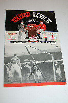 MANCHESTER UNITED v Blackpool REVIEW Football Programme 1956 1957 RARE EXC Busby