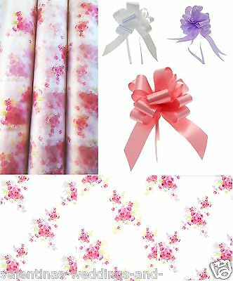Cellophane Frosted Wrap Pull Bow Vintage Posy Floral Bouquet Hamper Gift Basket