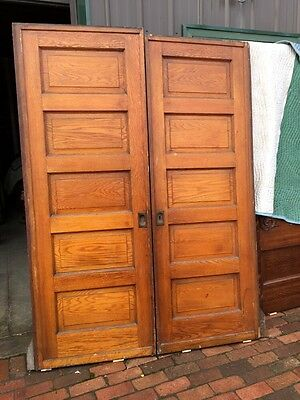 Ar 26 One Pair Antique Raised Panel Oak Pocket Doors With Hardware