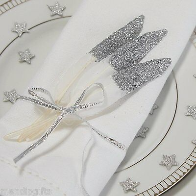 Silver Glitter dipped Feathers Wedding Table decoration Favour Pastel Perfection