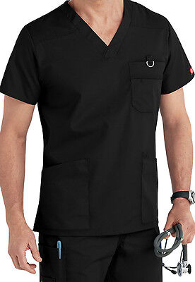 Dickies Medical Men's EDS Signature Collection Black Utility Top Sz S-XXL NWT