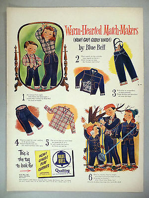 Blue Bell Qualitag Blue Jean & Jacket PRINT AD - 1952 ~~ dungarees