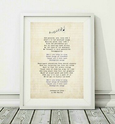 085 Bob Marley - Redemption Song - Song Lyric Art Poster Print - Sizes A4 A3