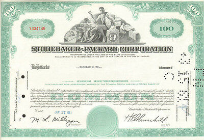 Studebaker Packard   old automobile car aqua stock certificate