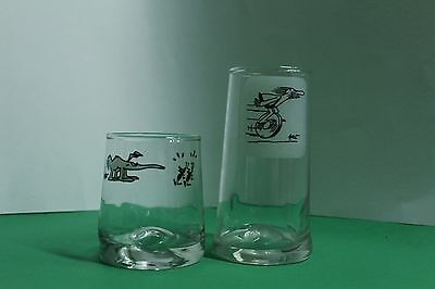 2 BC Comic Strip Ice Age Collector Glasses Vintage Wheel Unicycle Hart &Aardvark