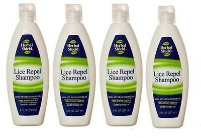 4x Herbal Shield Lice Repel Shampoo With Natural Essential Oils 8 Oz Each !