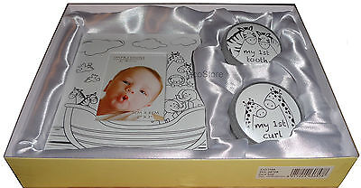 Noah's Ark Baby Gift Set Photo Frame Tooth & Curl Boxes, Christening New Born