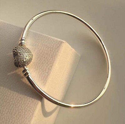 PAVE ALWAYS IN MY HEART Charm Bracelet Bangle Solid Sterling Silver