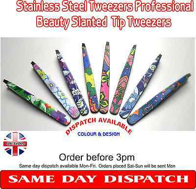stainless steel tweezers/plucker professional beauty slanted tip tweezers