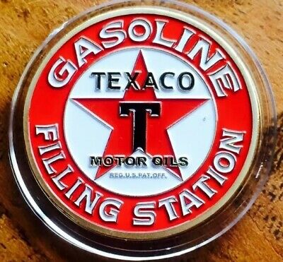 Texaco Motor Oils Petroleum Petrol Collectable Challenge Coin Finished 24k Gold