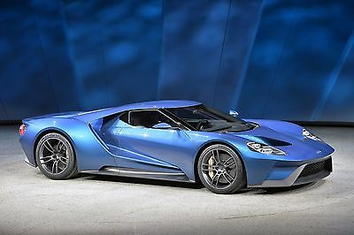 Ford Gt Super Car Blue Side View Poster  Inch High