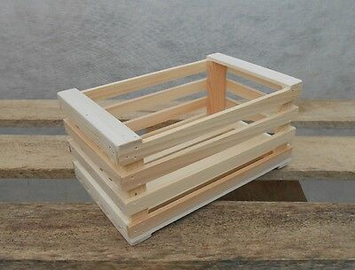 New Natural Wooden Farm Solid Apple Fruit Crate Bushell Craft Box Small