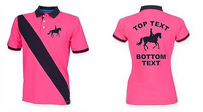 Personalised Printed Horse Stripe Polo Equestrian Shirt Childrens Kids
