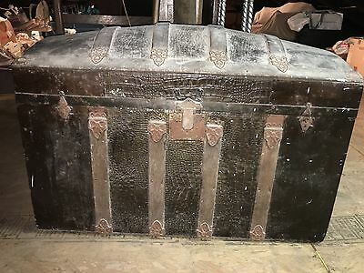 Antique Steamer Domed Trunk