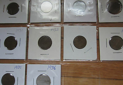Set of Canada Small Cents George V Coins (1920-1936).
