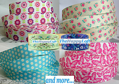 """1m FLORAL BIRDS BUTTERFLY GROSGRAIN RIBBON 7/8"""" 22/25mm 1"""" Cake Party Bow Hair"""