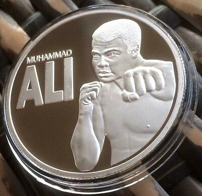 Boxing Champion Of The World Muhammad  Ali Finished In silver .999 1oz Coin New