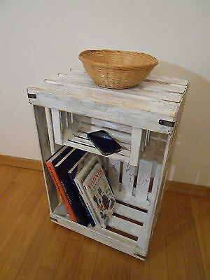 Wooden Shabby Chic Distressed Night Table Bedside Display Stand Shelves Handmade