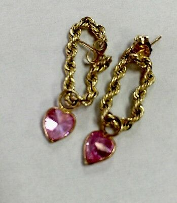 14 K Solid Yellow Gold Earring Dangle Pink Stone