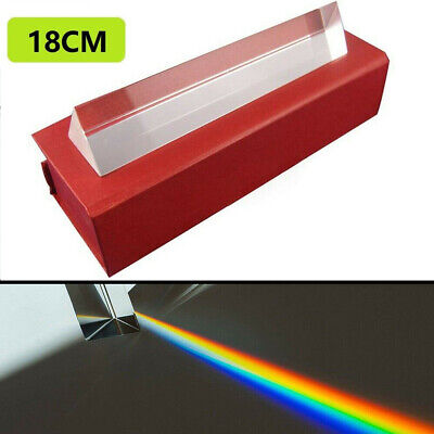 18cm Optical Glass Triple Triangular Prism Physics Refractor Light Spectrum