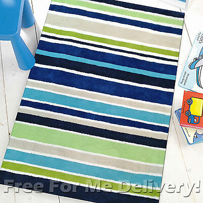 LALA KIDS BOYS STRIPES THICK COTTON FLOOR RUG SIZE (XS) 70x140cm **FREE DELIVERY