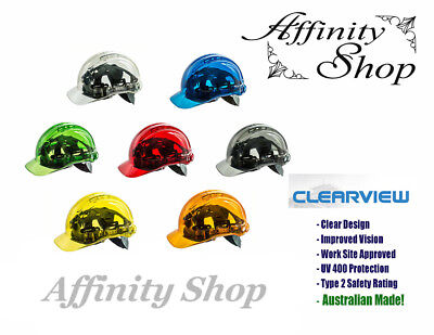 Clearview Hard Hat Vented Helmet Coloured Head Protection Caps Worksite Approved