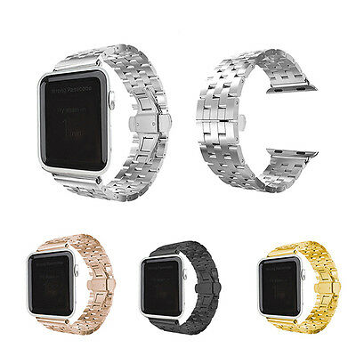 Stainless Steel Watch Band Butterfly Link Lock Strap For Apple Watch iWatch 38mm