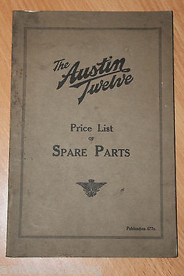 Austin Twelve Price List Of Spare Parts Publication Number 477e
