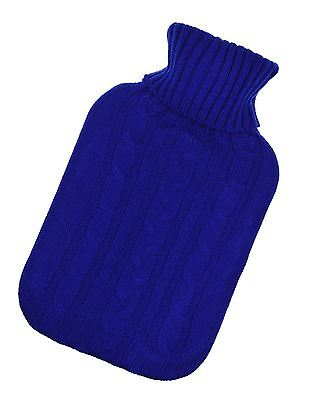 2L Hot Water Bottle Knitted Cover Blue Gift Large Warm Sweater Thermotherapy