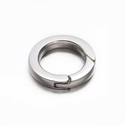 1 x Stainless Steel 20mm Round Donut Lobster Claw Parrot Spring Key Clasp
