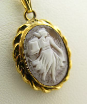 Vintage Gold Filled Carved Full Length Cameo Shell Lady Pendant Necklace
