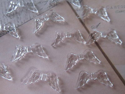 100 x Transparent Acrylic Beads  angel Wing Clear spacers findings 20x9.5x3.5mm