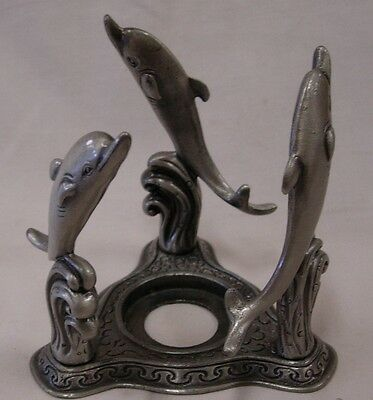 3 Dolphin Figurine Metal Candle Holder Stand