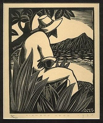"""""""Diamond Head"""", a wood engraving print, by John Farleigh Signed and dated 1933."""