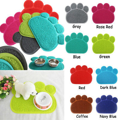 Multicolor Cute Tera Pet Dog Cat Puppy Dish Bowl Food Water Placemat Mat PVC Paw