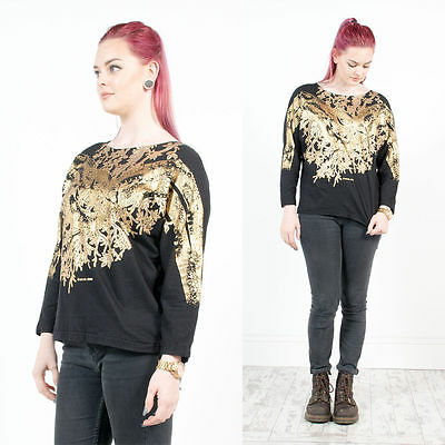 Vintage 80's Leopard Pattern Gold Shiny Diamante Detail Oversize T-Shirt 14
