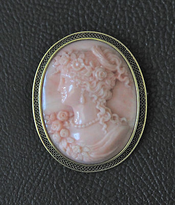 Italian Coral Finely Carved Cameo in 18K Frame, Late 19th Century