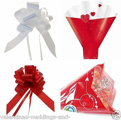 Valentines Heart Cellophane Bouquet Sleeve Cone Flower Sweet Cupcake Wrap Bow