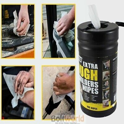100 x SHIELD EXTRA TOUGH BUILDERS WIPES CLEANING WIPES PER TUB OIL PAINT GREASE