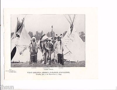 Vintage Antique Indian Colonial Exposition RARE 1899 Print/Teepee Omaha NE/SIOUX
