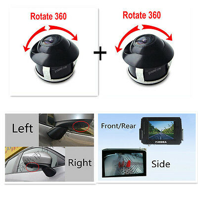 360° Rotatable 170° Wide Angle Color CCD Reverse Backup Camera Front/Rear/Side