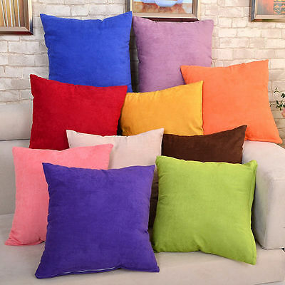 "New Solid Suede Nap Cushion Cover Home Decor Bed Sofa Throw Pillow Case 18""x18"""