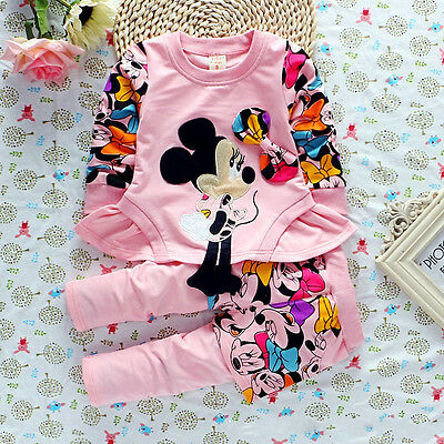 Infant Kids Baby Girls Minnie Mouse T-shirt Tops Dress Pants Outfits Clothes set