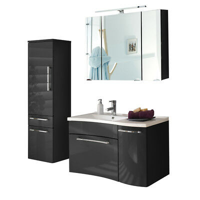 badezimmerm bel set hochglanz anthrazit m bel badschrank badm bel bad m belset eur. Black Bedroom Furniture Sets. Home Design Ideas