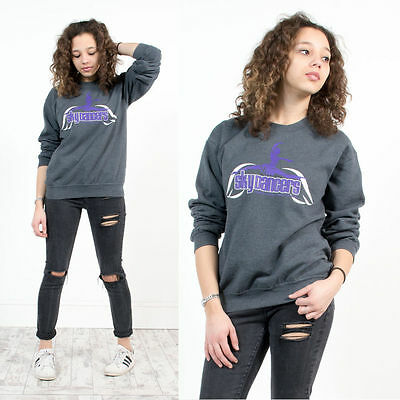 Vintage Retro Print Sweatshirt Jumper Sweater Crew Neck Grey Usa Dancers 8