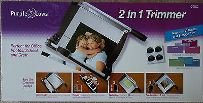 Purple Cows 2 in 1 Combo Card Paper Cutter Trimmer Guillotine + 7 Rotary Blades