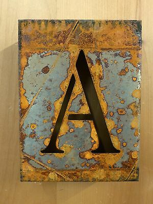 """8"""" RUSTY RUSTED INDUSTRIAL METAL BLOCK CUT SIGN LETTER A vintage marquee wall"""