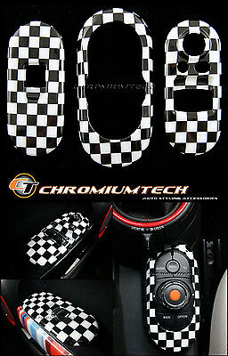 Chequered Flag Centre+Window Control Panel Cover MK3 MINI Cooper/S/ONE F56 Hatch