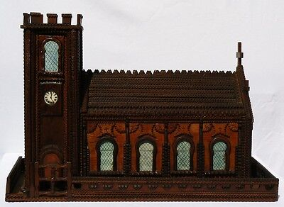 Extremely large detailed Tramp Art Church with intricate, beautiful workmanship.
